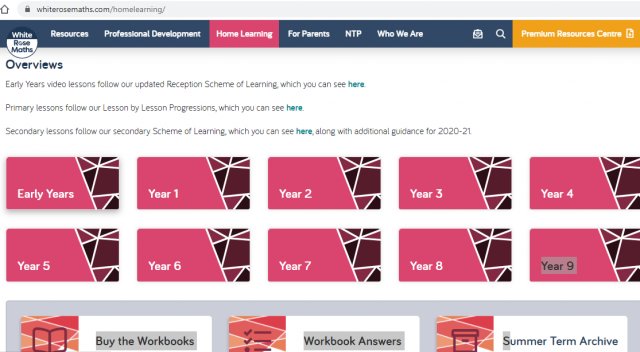 Maths Resources for Home Learning