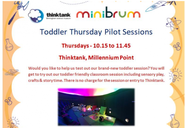 Free Toddler Pilot Sessions at Millenium Point - download the PDF for more information.